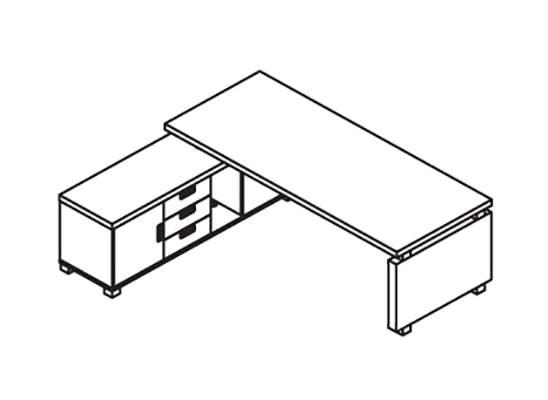 Стол руководителя 2200 с приставной тумбой (универсальная) 2200x1750x750