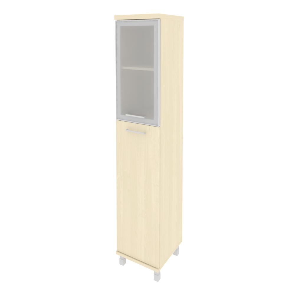 Шкаф высокий узкий правый закрытый со стеклом в раме 401x432x2060