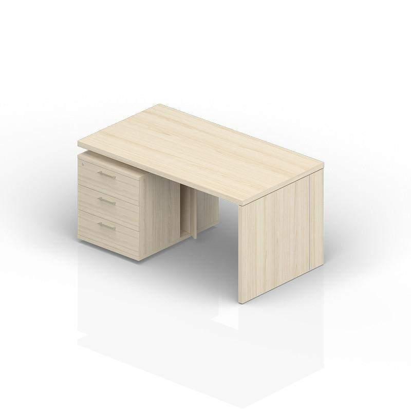 Стол на опорной тумбе 3 ящика (левый) 1600(+0/150/300)х900х735