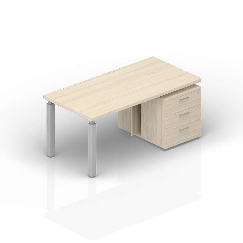 Стол на опорной тумбе 3 ящика правый 1600(+0/150/300)х900х735