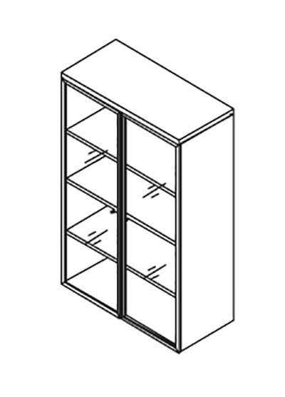 Шкаф 140 с алюминиевыми стеклянными дверями 900x420x1411