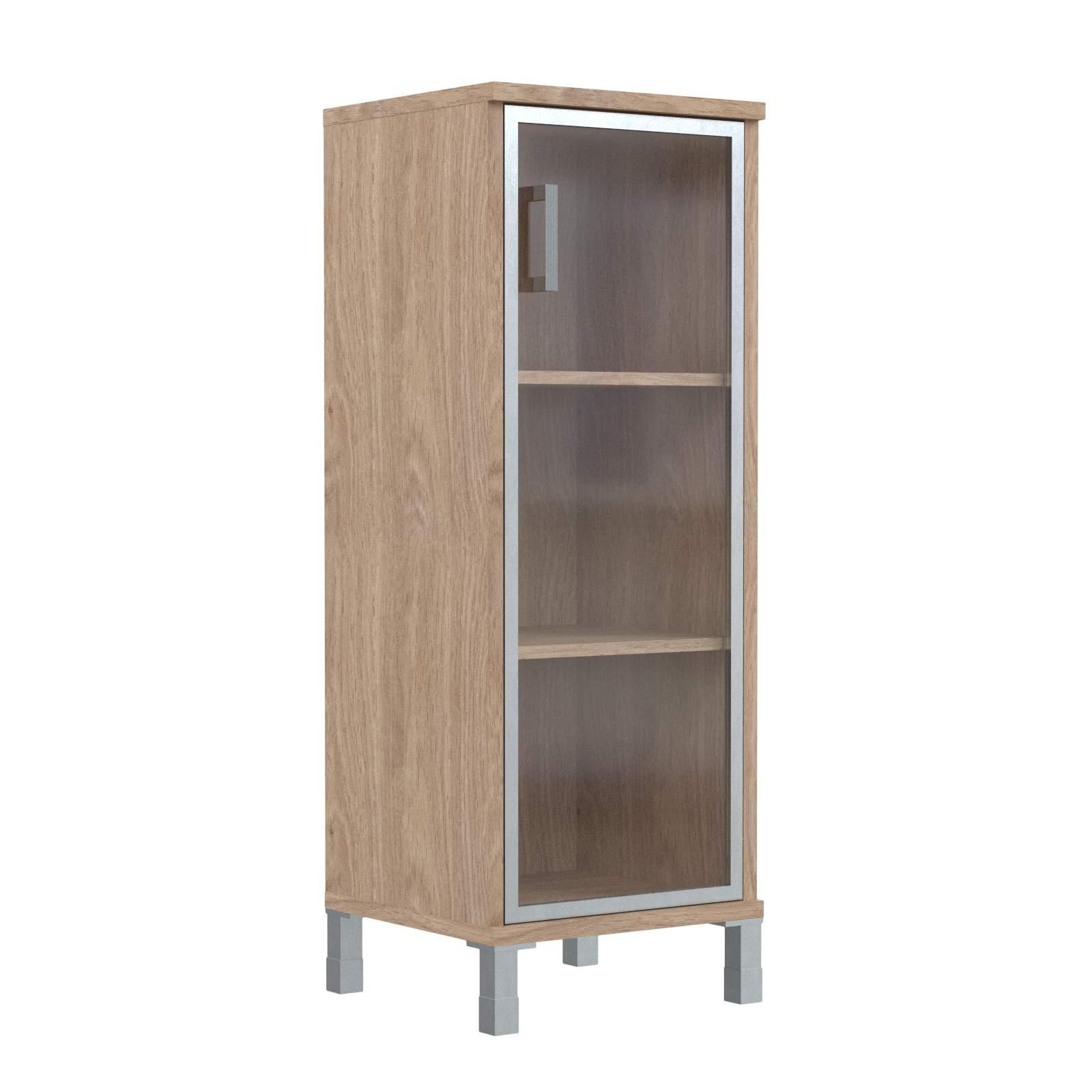 Шкаф колонка средняя со стеклянной дверью в алюм. рамке правая 475х435х1236