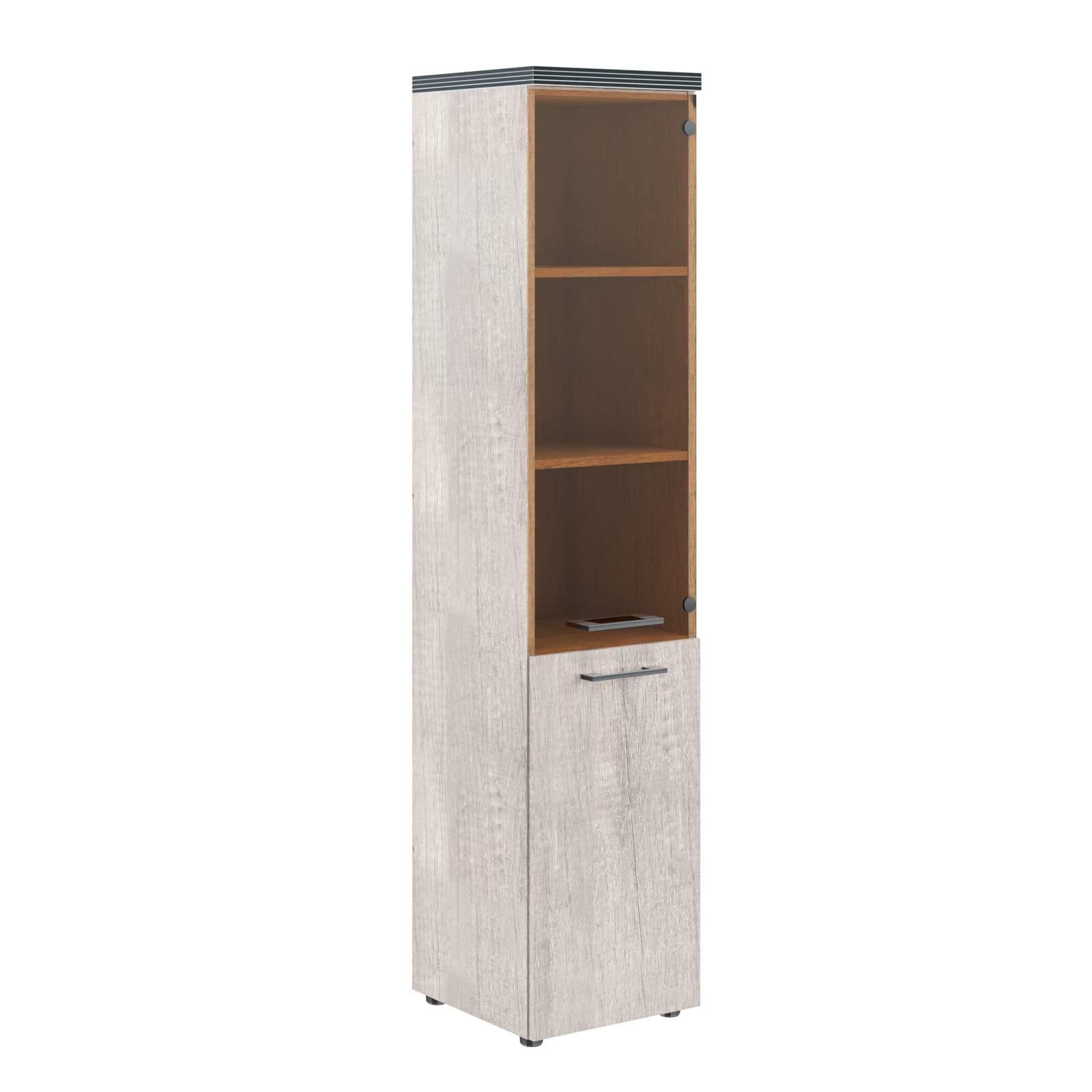 Шкаф  узкий полуоткрытый со стеклом  400x380x1890