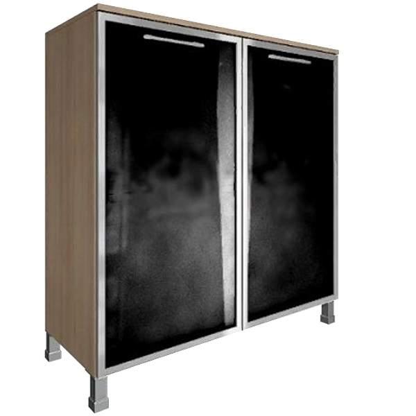 Стеллаж квадратный с 2мя черными стеклянными дверями 1094x450x1168