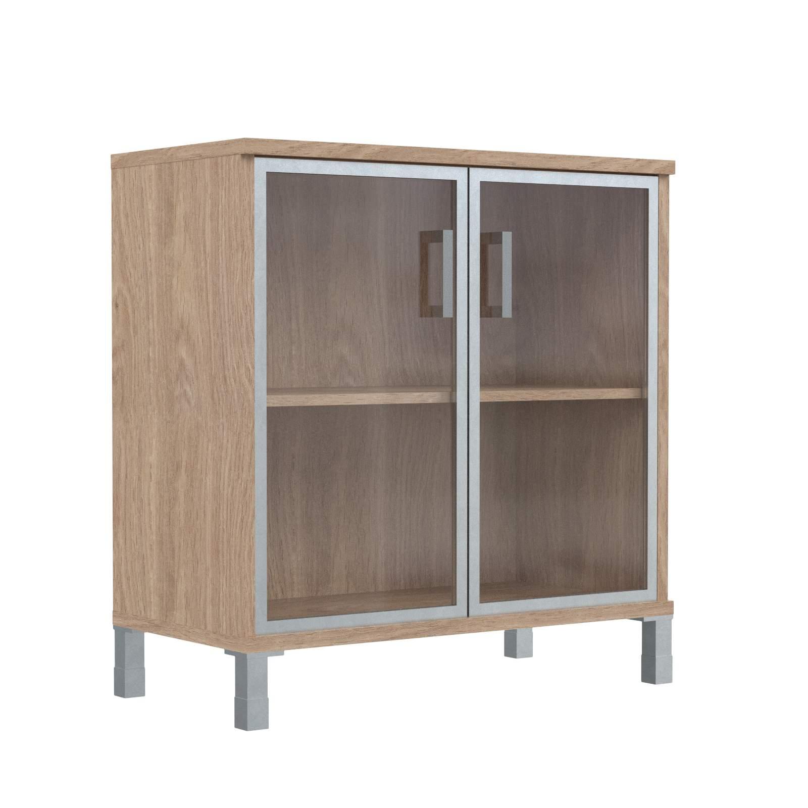Шкаф низкий со стеклянными дверьми в алюм. рамке 900х435х870