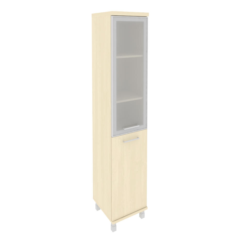 Шкаф высокий узкий левый со стеклом в раме 401x432x2060