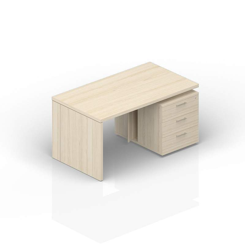 Стол на опорной тумбе 3 ящика (правый) 1600(+0/150/300)х900х735
