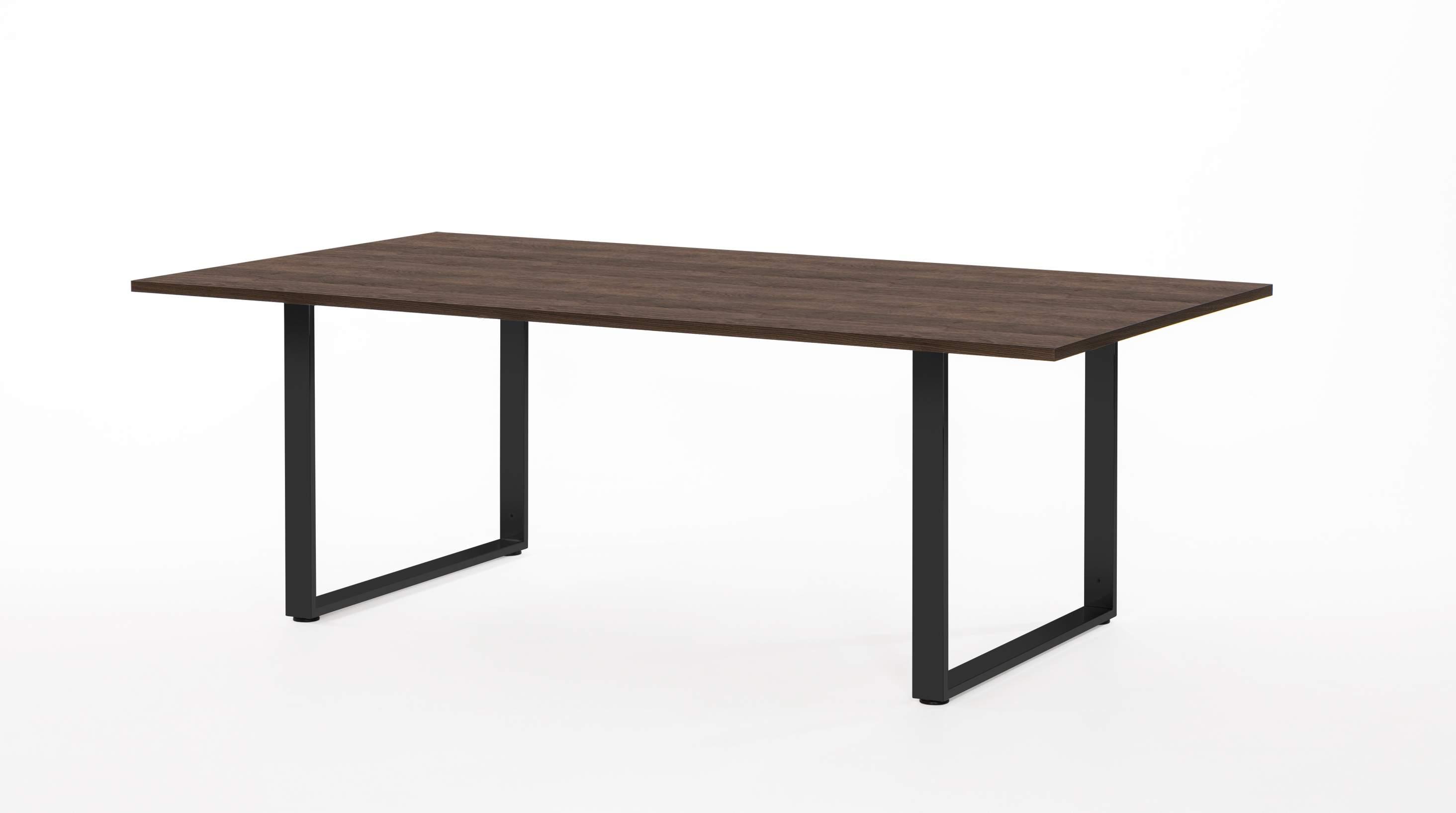 Стол для переговоров с черными опорами 2400x1200x770