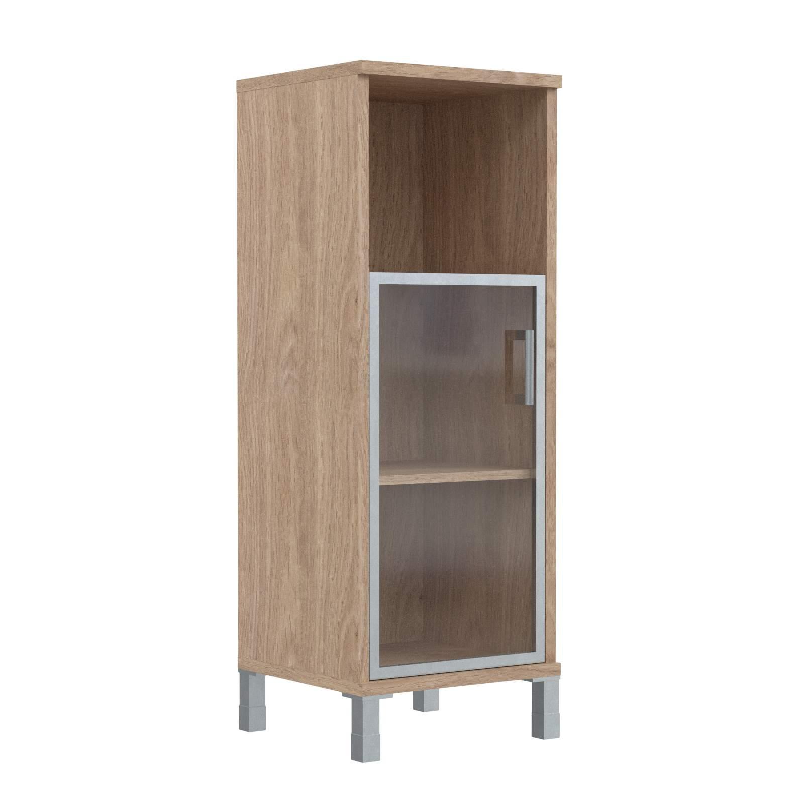 Шкаф колонка средняя с малой стеклянной дверью в алюм. рамке левая 475х435х1236