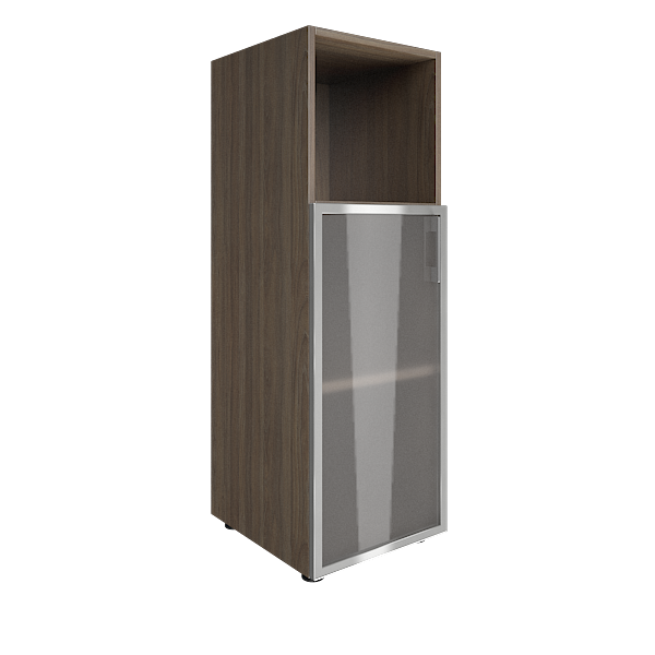 Стеллаж средний узкий левый со стеклянными дверцами в алюминиевой раме 400x450x1195