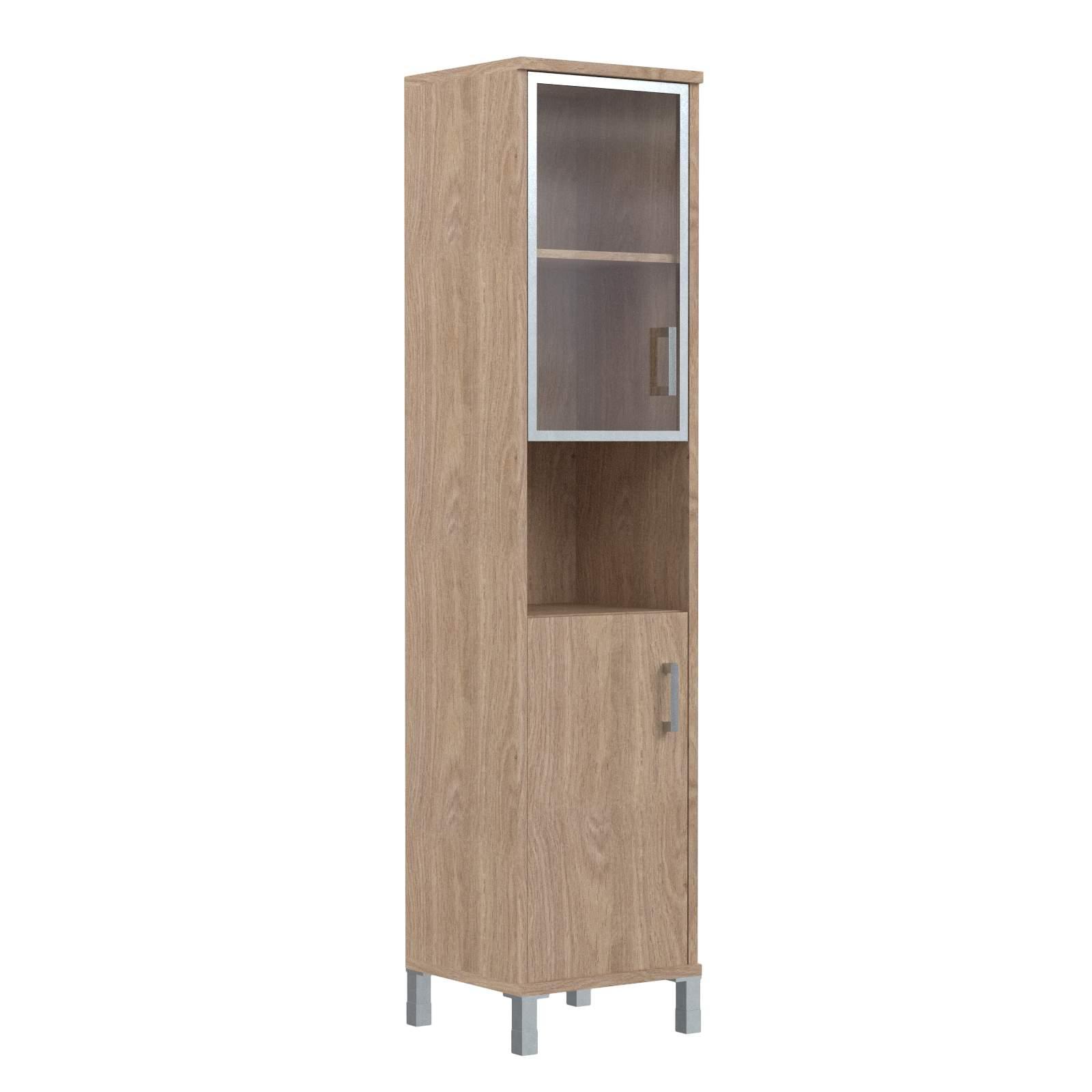 Шкаф колонка высокая с малой стеклянной дверью в алюм. рамке и глухой левая 475х435х2004