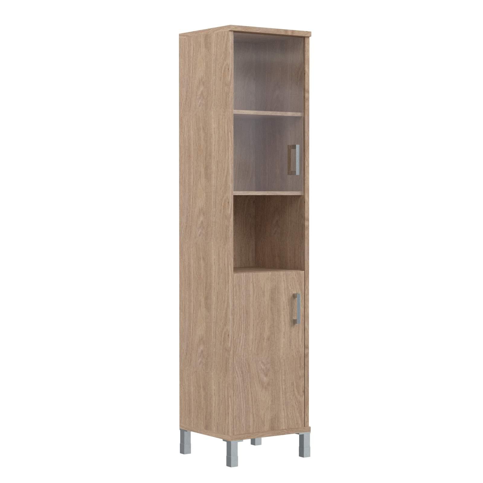 Шкаф колонка высокая с малой стеклянной дверью и глухой левая 475х435х2004