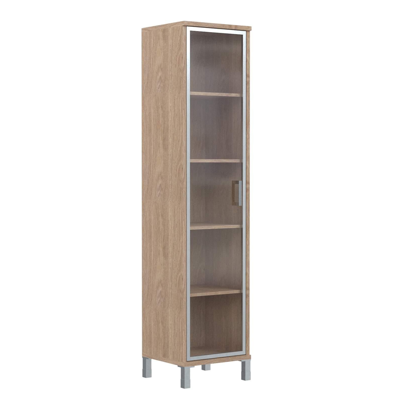 Шкаф колонка высокая со стеклянной дверью в алюм. рамке левая 475х435х2004
