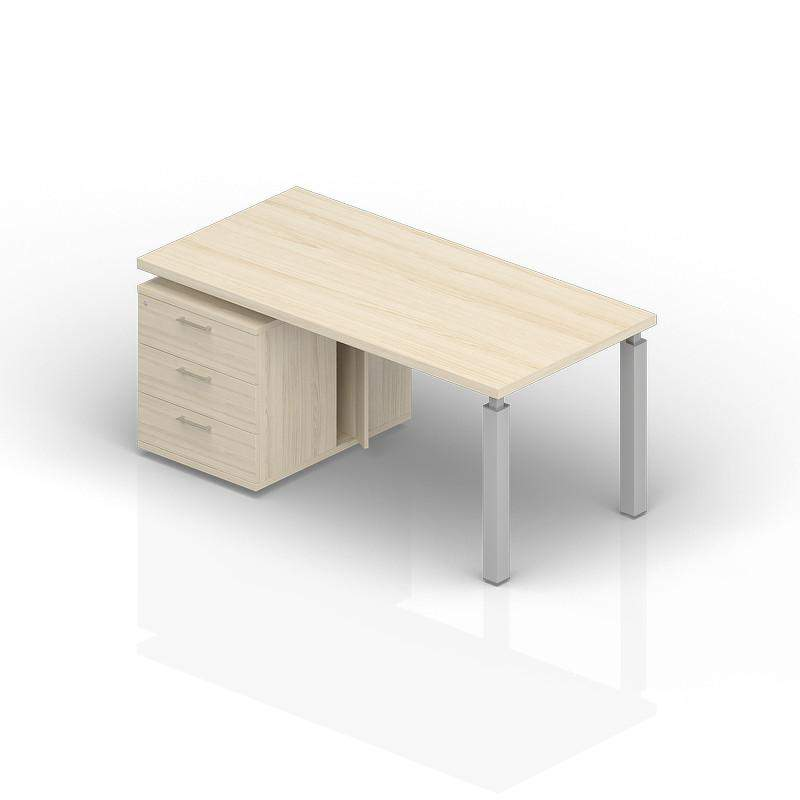 Стол на опорной тумбе 3 ящика левый 1600(+0/150/300)х900х735