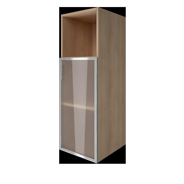 Стеллаж средний узкий правый со стеклянными дверцами в алюминиевой раме 400x450x1195