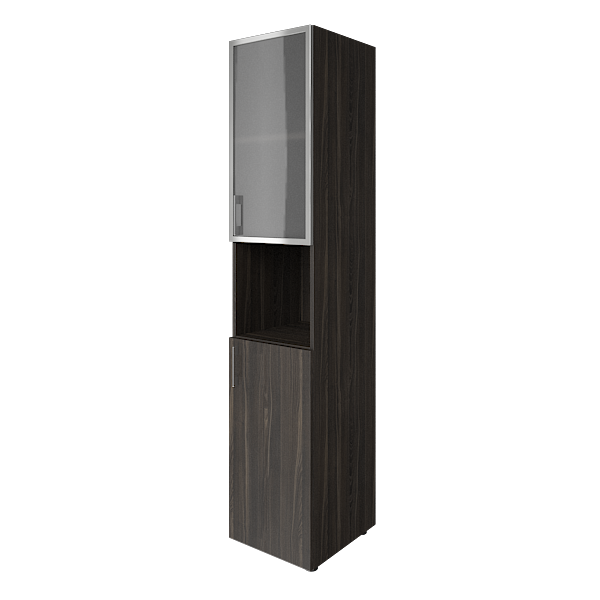 Шкаф высокий узкий комбинированный со стеклом в алюминиевой раме 400x450x1990
