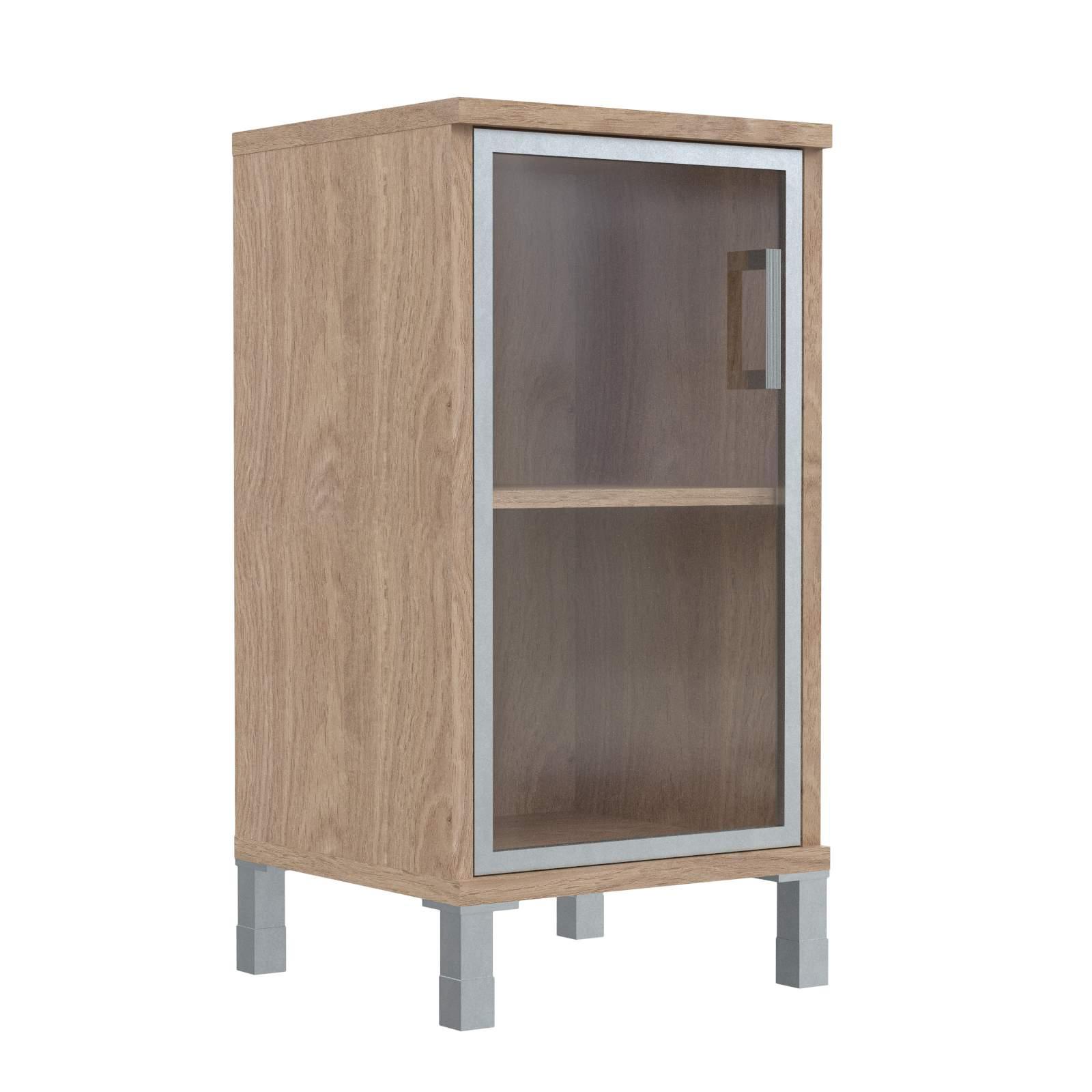 Шкаф колонка низкая со стеклянной дверью в алюм. рамке левая 475х435х870