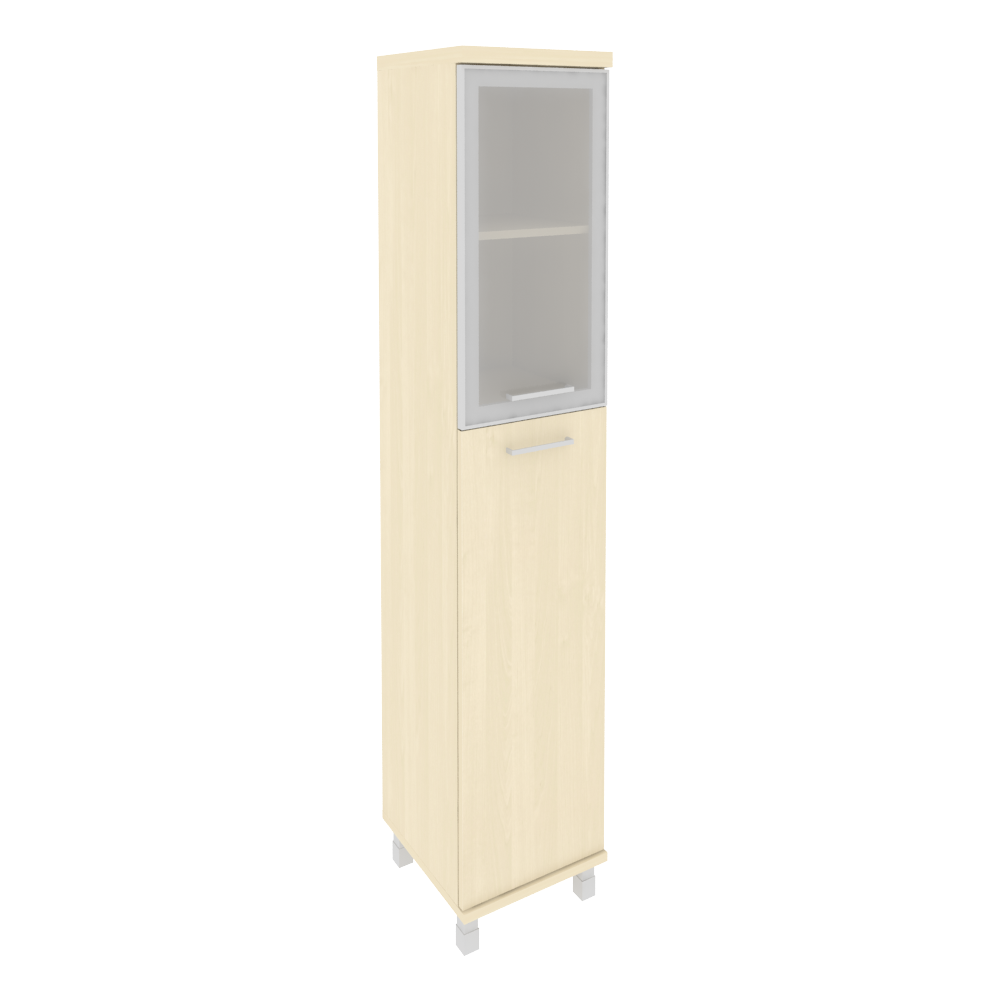 Шкаф высокий узкий левый закрытый со стеклом в раме 401x432x2060