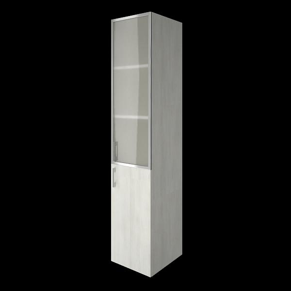 Шкаф средний узкий комбинированный со стеклом в алюминиевой раме  400x450x1990