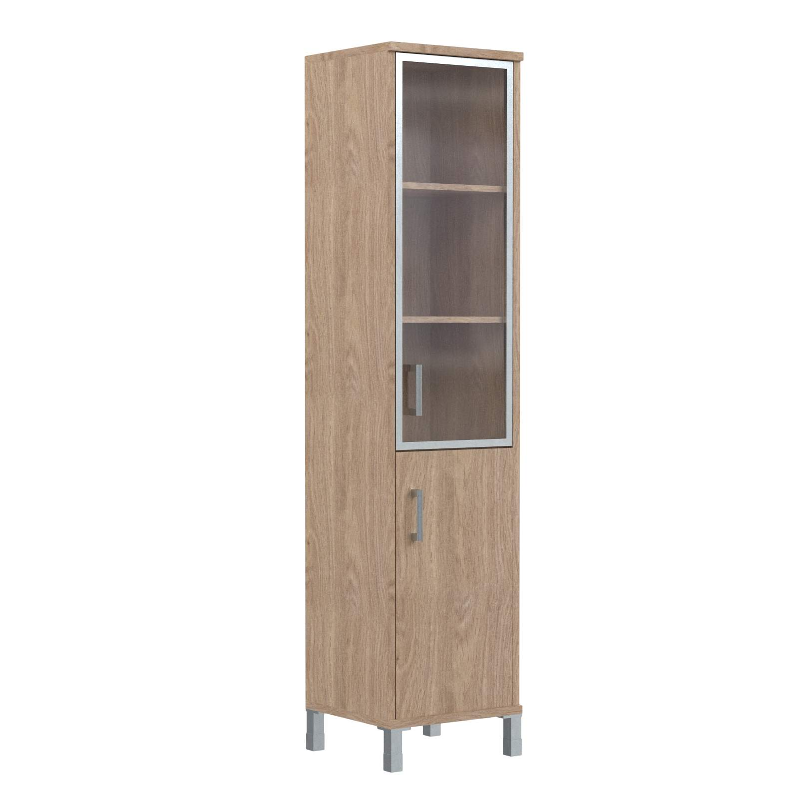Шкаф колонка комбинированная со стеклом в алюм. раме правая 475х435х2004