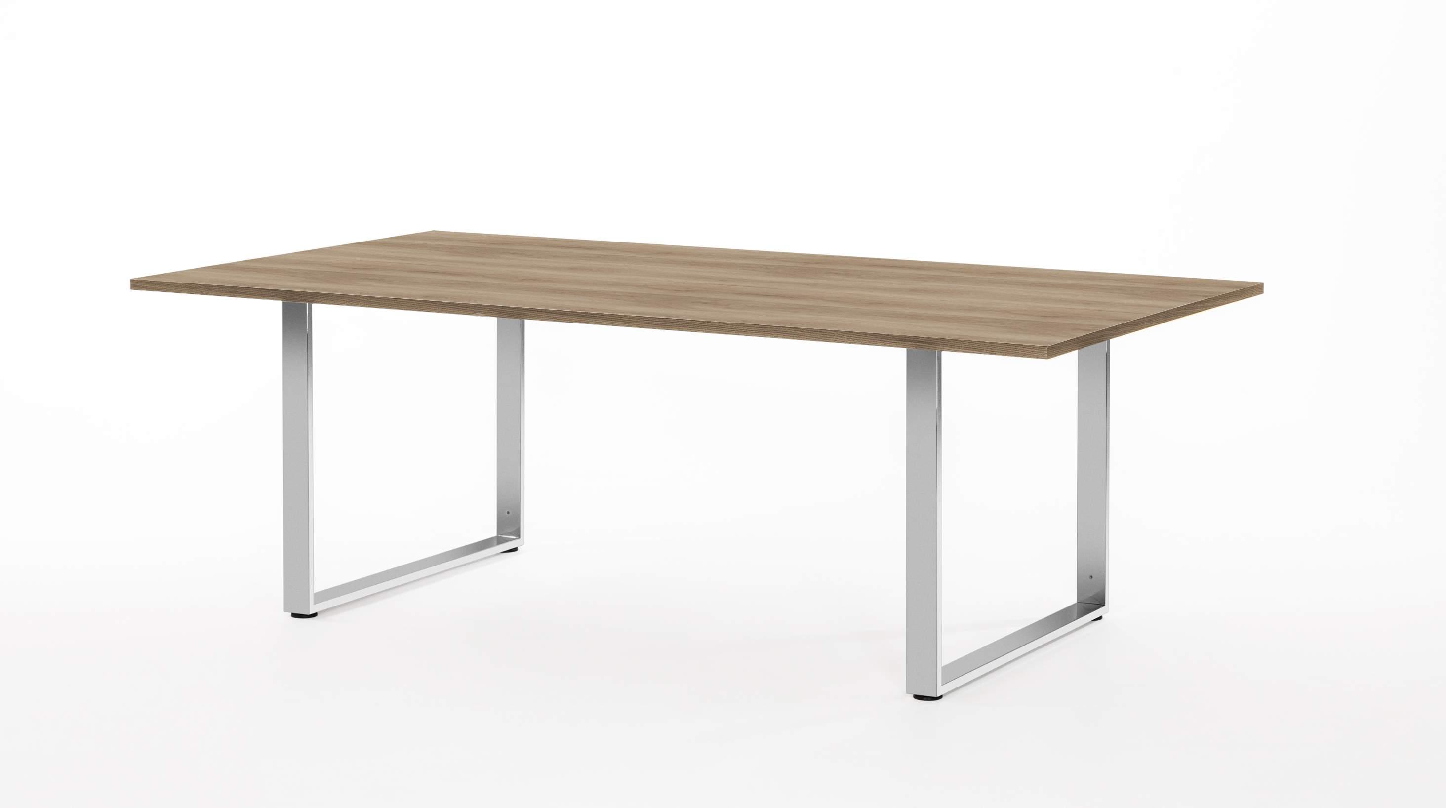 Стол для переговоров с опорами цвета хром 2400x1200x770