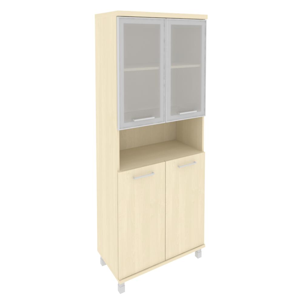 Шкаф высокий широкий комбинированный со стеклом 801x432x2060