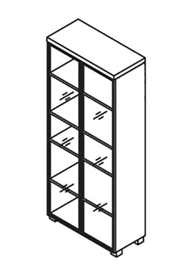 Шкаф высокий со стеклянными дверями 900x420x2130