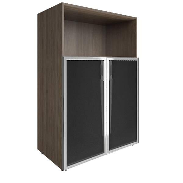 Стеллаж средний широкий со стеклом лакобель (white, black) 800x450x1195