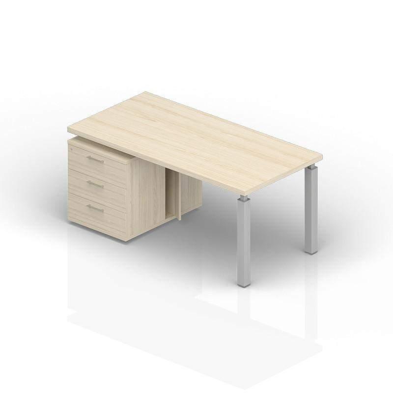 Стол на опорной тумбе 3 ящика левый 2000(+0/150/300)х900х735