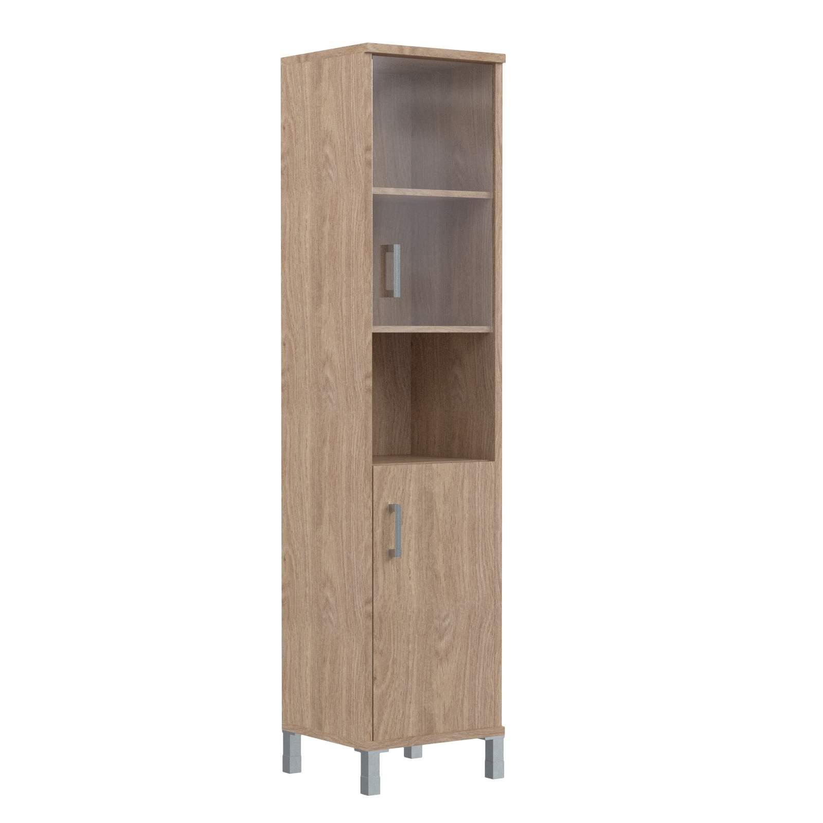 Шкаф колонка высокая с малой стеклянной дверью и глухой правая 475х435х2004