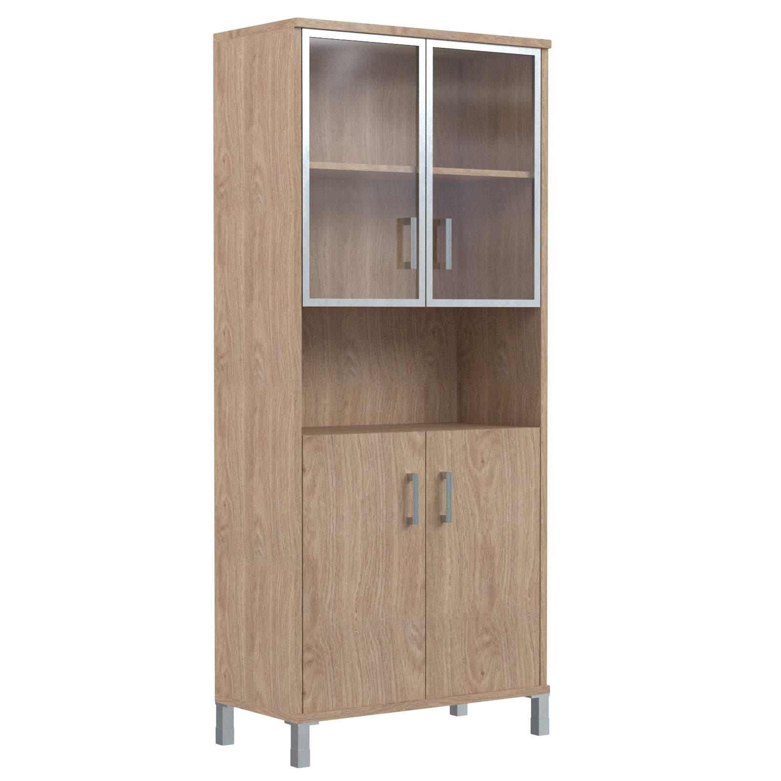 Шкаф высокий с малыми стеклянными дверьми в алюм. рамке и глухими 900х435х2004