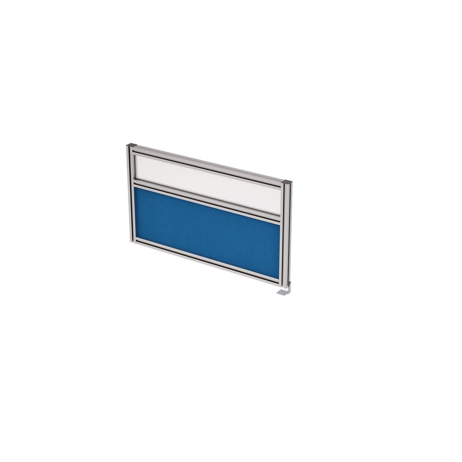 Барьер боковой в алюминиевом профиле, вставка стекло матовое, ткань 700х400х29