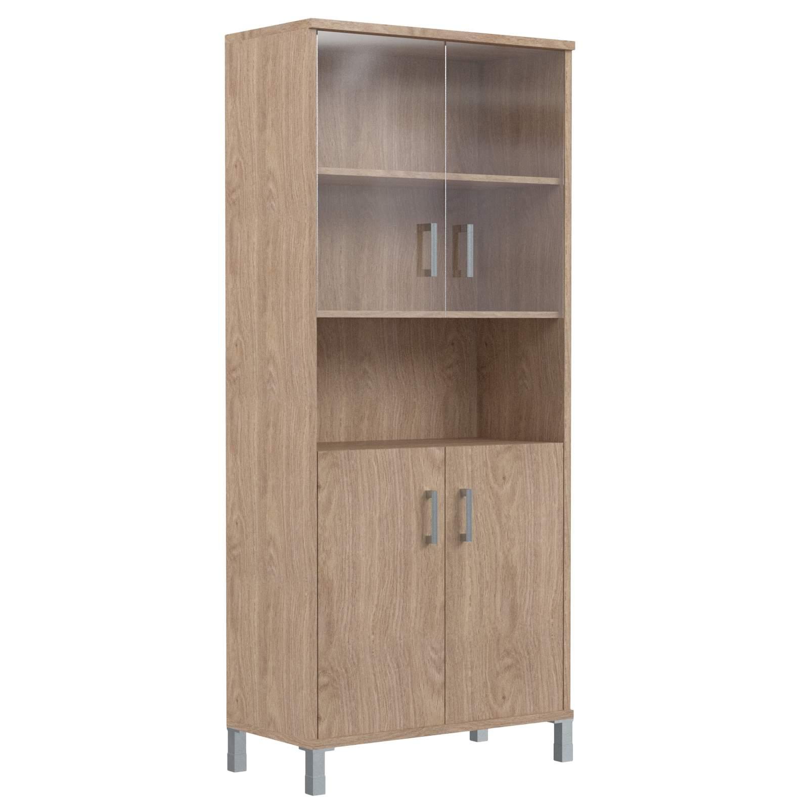 Шкаф высокий с малыми стеклянными и глухими дверьми 900х435х2004