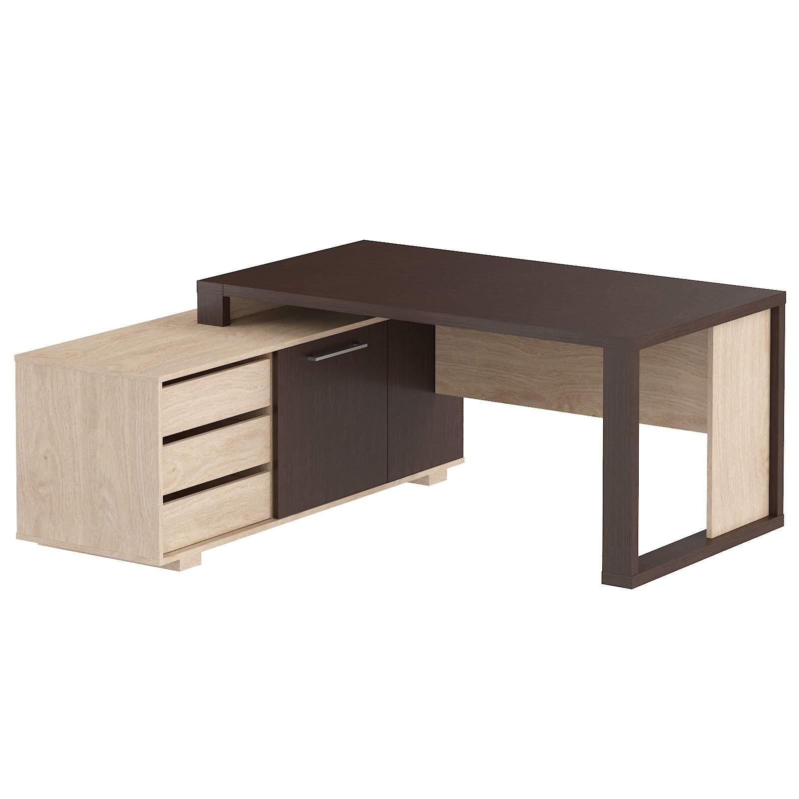 Стол на опорной тумбе с ящиками левый 1750x1600x750