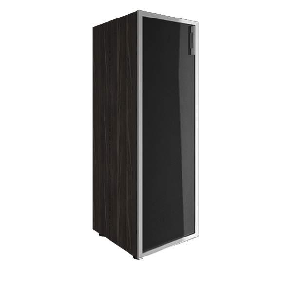 Стеллаж средний узкий левый со стеклянными дверями лакобель (white, black) 400x450x1195