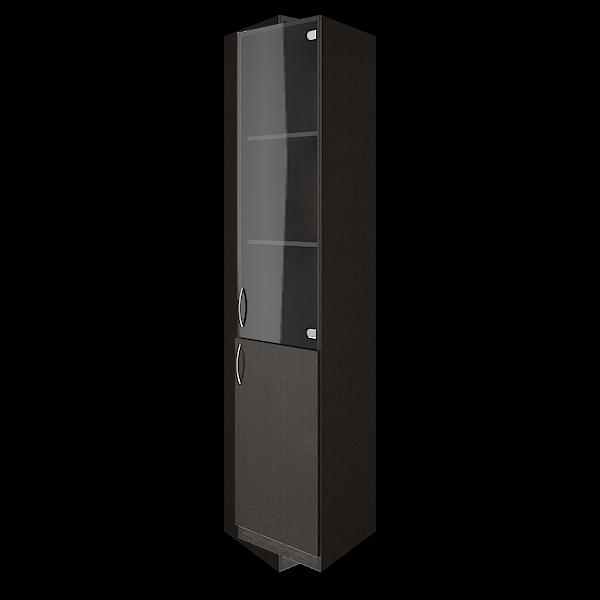 Шкаф высокий узкий правый комбинированный со стеклом 388x359x1914