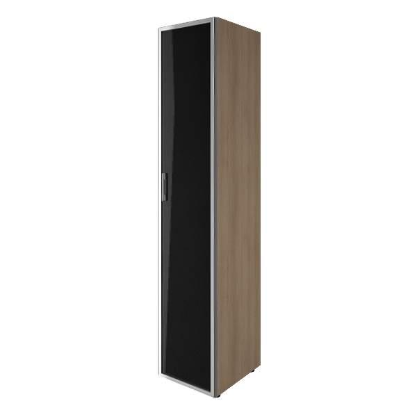 Шкаф высокий узкий 1 дверь стекло лакобель (white,black) 400x450x1990