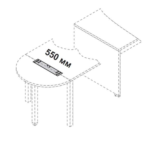 Крепление для соедниение приставок (арт.558-559) к столам с ДСП-опорами и П-опорами 550x71x12