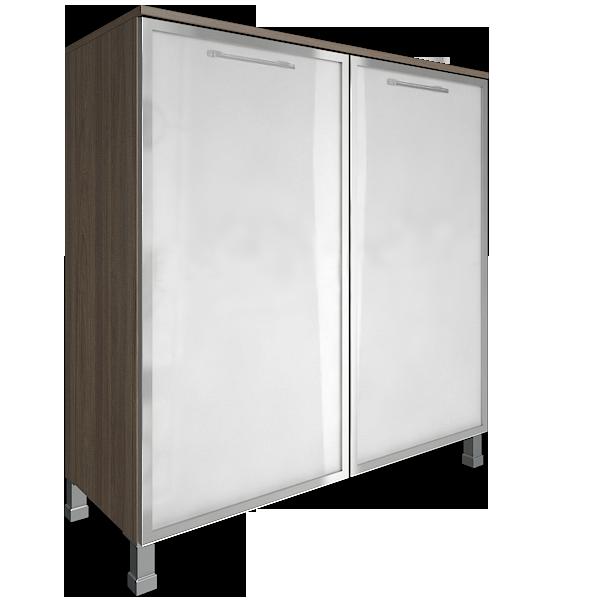 Стеллаж квадратный с 2мя стеклянными дверями 1094x450x1168
