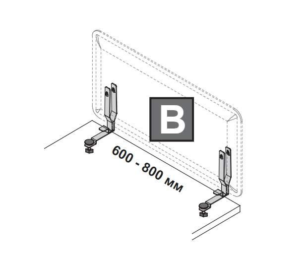 Комплект креплений С для бокового настольного экрана