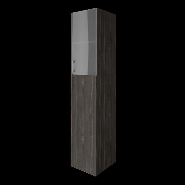 Шкаф высокий узкий комбинированный со стеклом 400x450x1990