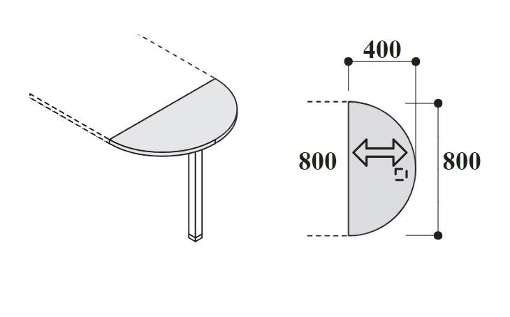 Приставка для столов глубиной 80см 736