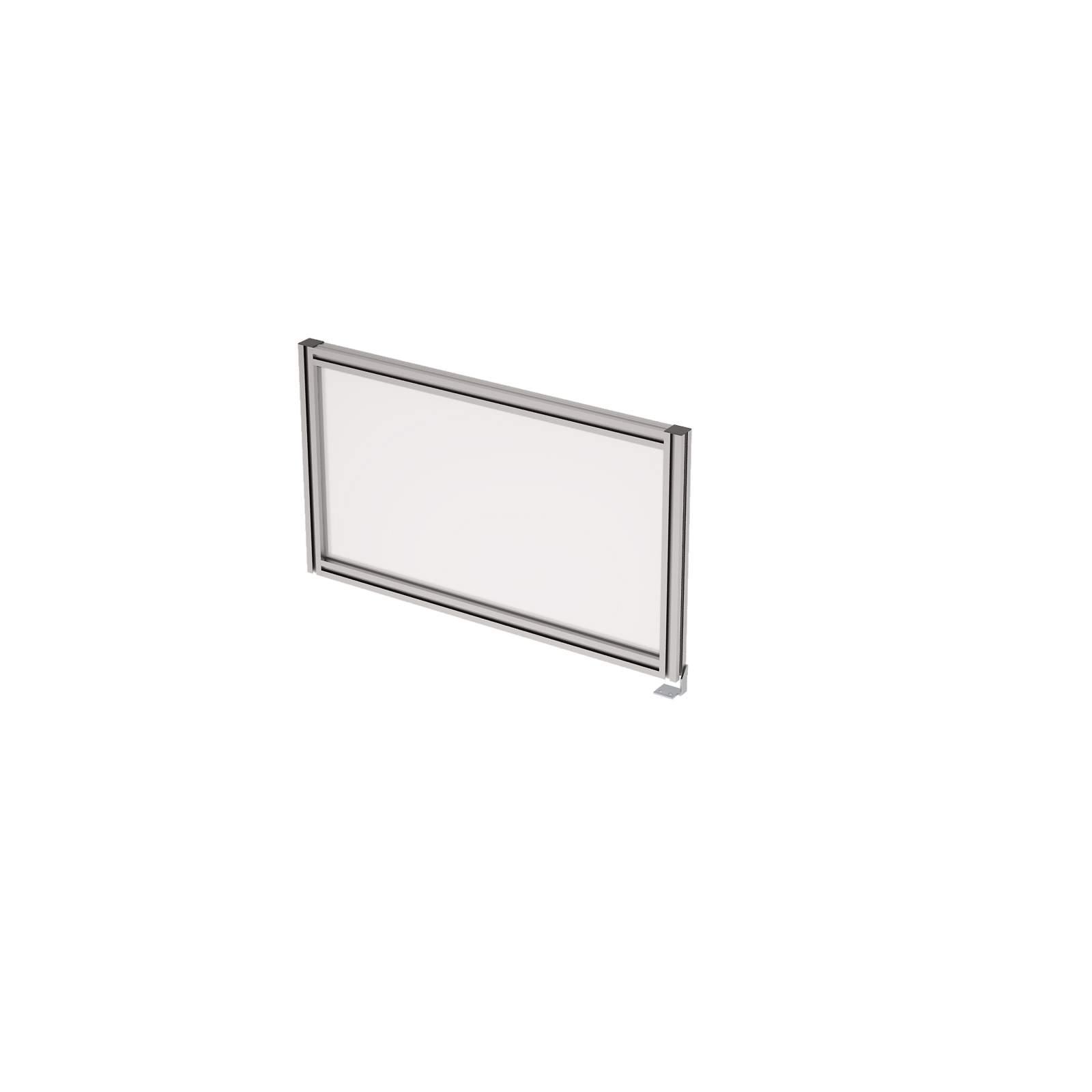 Барьер боковой в алюминиевом профиле, вставка стекло матовое 700х400х29