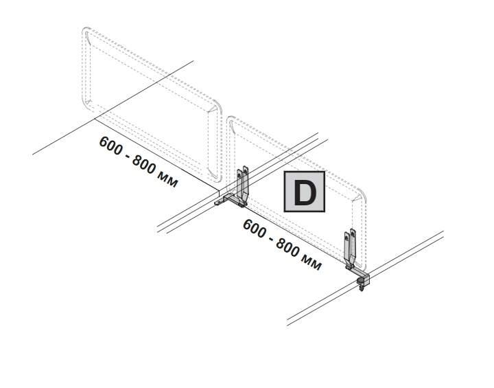 Комплект креплений D для бокового настольного экрана