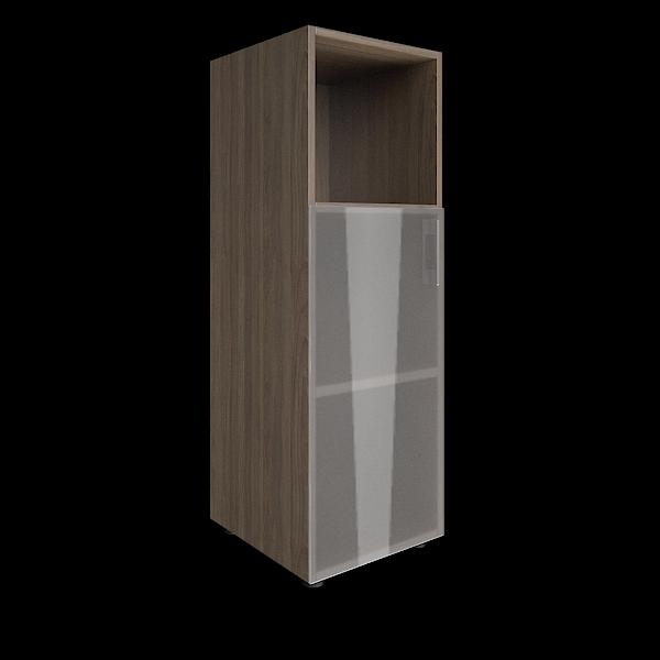 Стеллаж средний узкий левый со стеклянными дверцами 400x450x1195