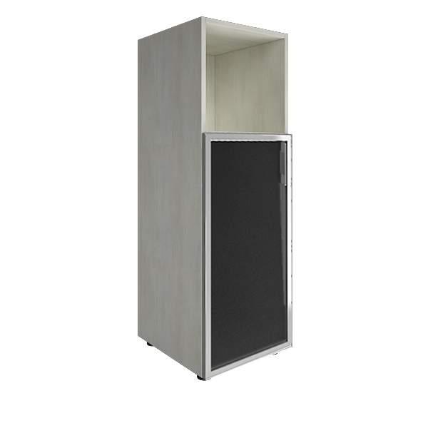 Стеллаж средний узкий левый со стеклянными дверцами лакобель (white, black) 400x450x1195