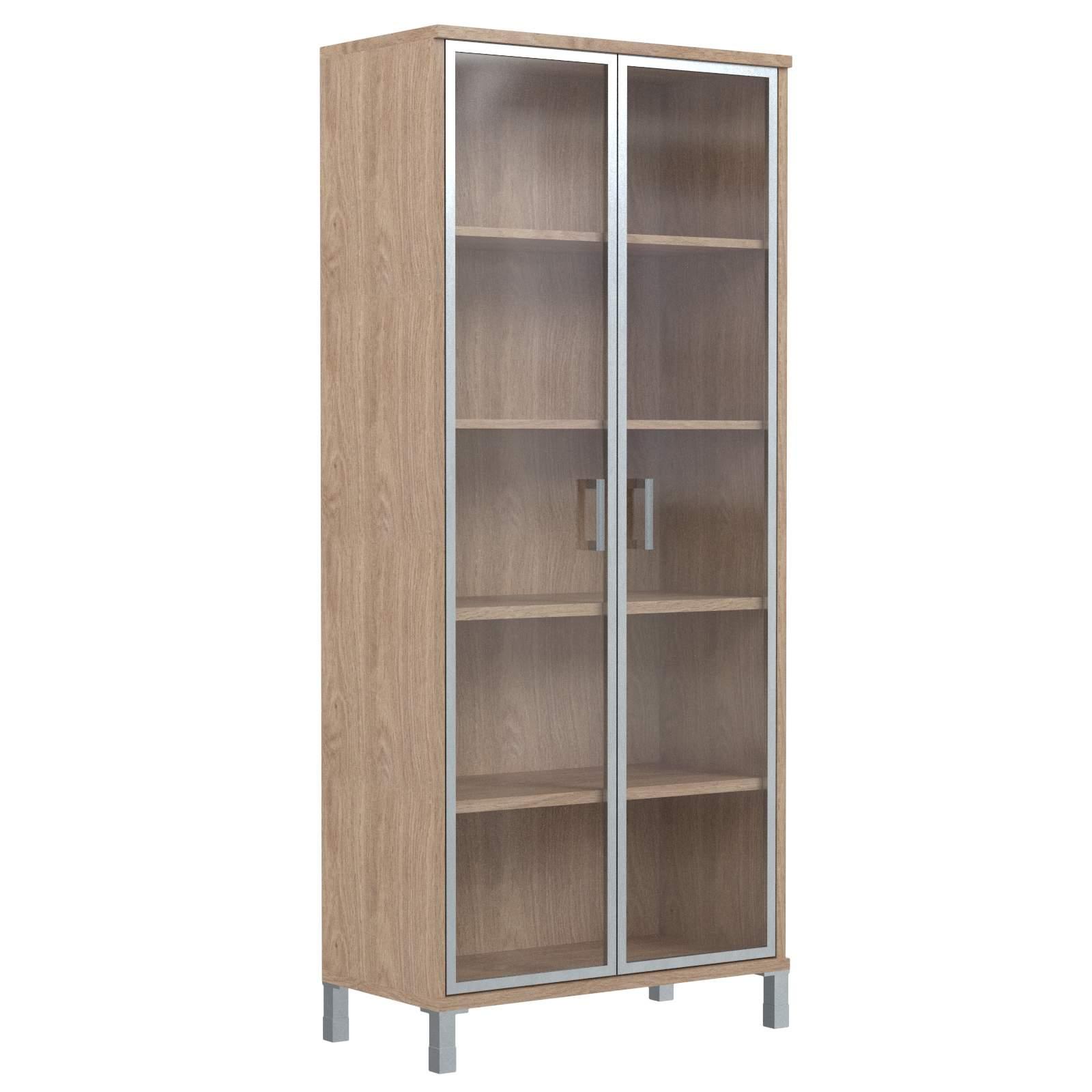 Шкаф высокий со стеклянными дверьми в алюм. рамке 900х435х2004