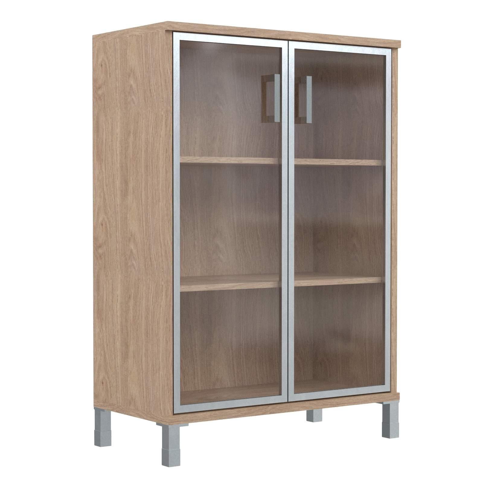 Шкаф средний со стеклянными дверьми в алюм. рамке 900х435х1236
