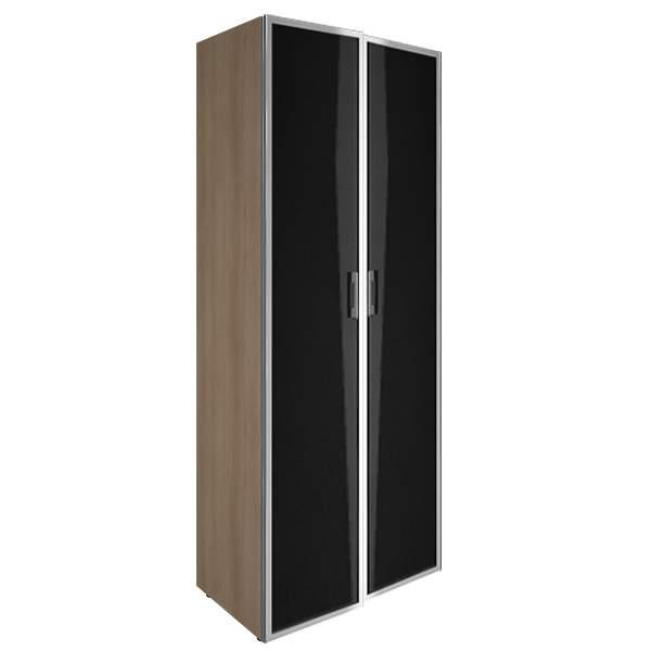 Шкаф высокий закрытый стеклянные двери лакобель (white, black) 800x450x1990  800x450x1990