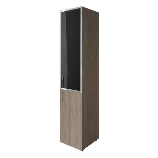 Шкаф средний узкий комбинированный со стеклом лакобель (white, black) 400x450x1990